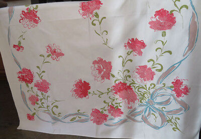Vintage Print Tablecloth Large Pink Carnations with Bow