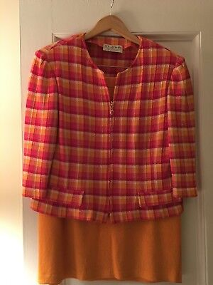 St John Collection by Marie Gray Peach Pink Check Plaid with Peach Skirt SZ 14