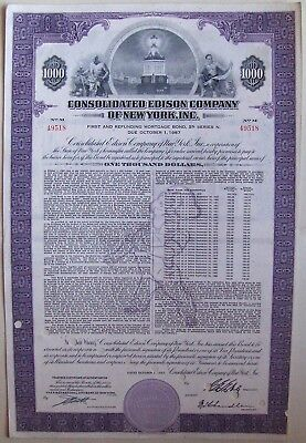 Consolidated Edison Company of New York, Inc $1000 bond dated 1957