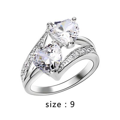 Charm Ring Women Fashion Silver Heart Zircon Wedding Engagement Party Size 9