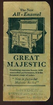 "1928 Reading,PA - Snyder's Stoves & Hardware ""Great Majestic"" Memo Booklet"