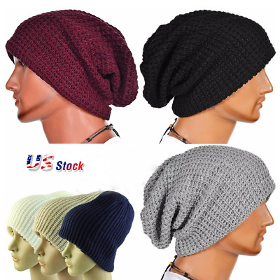 e849622cb Men Women Warm Oversize Beanie Skull Baggy Cap Winter Slouchy Knit Hat  Unisex