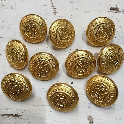 Vintage Brass Rail Road Railroad Uniform Buttons NY Ontario Western RR Lot of 10