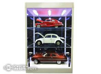 Display Case White with LED Light house Dust-Free Cabinet with 2 shelves 1/6
