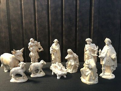 "~*~10 Piece 5"" Wood Carved Nativity Set Italy Anri-style Natural Finish~*~"