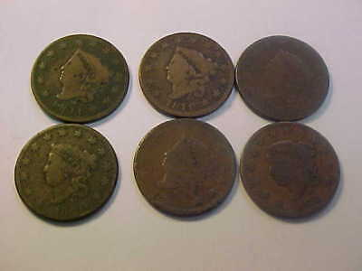 1816 1818 1819 1820 1825 1827  Six Coronet Head Large Cent Nice 6 Coin Lot