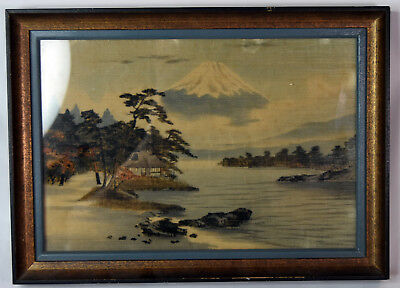 """10"""" Vintage Japanese Watercolor Painting Silk Fuji Yama Seascape View House"""