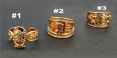 Egyptian Rings / Gold Tone / Cleopatra or Scarab / Adjustible Size 6-9