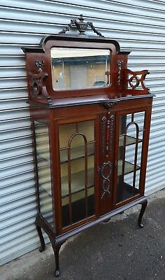 Gorgeous Late Victorian Inlaid Mahogany Dosplay Cabinet With Mirror