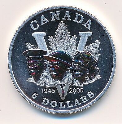 Canada Fine Silver 5 Dollars 2005 60Th Anniv Of 2Nd World War  - Specimen