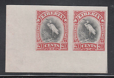 Liberia # 106 MNH (NG) Red &  Black Color Trial PROOF Pair on Paper Fauna Bird
