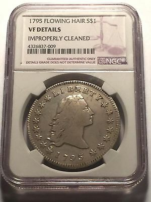 1795 Early Flowing Hair Silver Dollar NGC  Very Fine +++  George Washington Coin