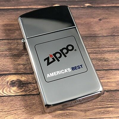 1990 Vintage Slim Zippo Lighter - Zippo America's Best - Etch & Paint - Unfired
