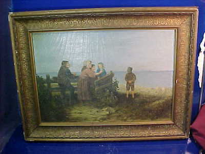 19thc WAITING FOR The SAILING SHIPS RETURN Framed OIL PAINTING On Canvas