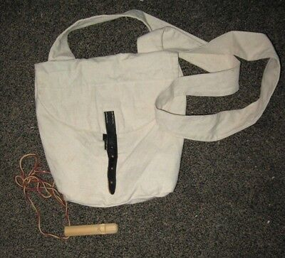 Natural Cotton Canvas Possibles Bag and Wooden Whistle