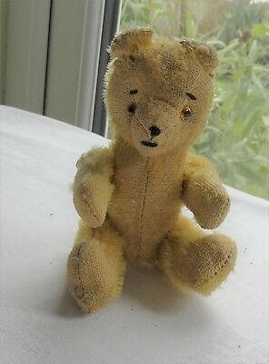 Small Vintage Hard Stuffed Teddy Bear With Moving Arms And Legs, 15 Cm Tall