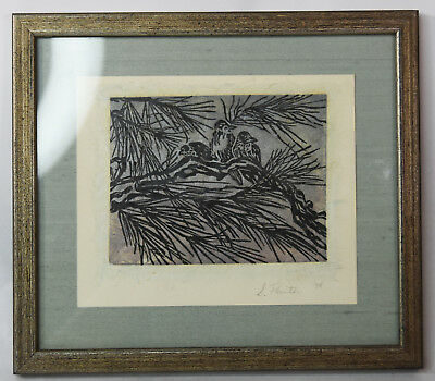 """5"""" Vintage Woodblock Print Signed S. Painter Birds in A Tree Winterscape"""