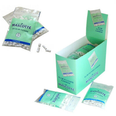 20 Bags of MASCOTTE Carbon Slim 6mm Cigarette Filters (Full Box - 2400 Filters)