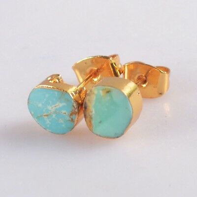 Natural Genuine Turquoise Stud Earrings Gold Plated H129132