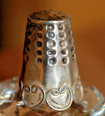 Lovely Vintage TAXCO MEXICO 925 Sterling Silver SEWING Thimble HEART PATTERN