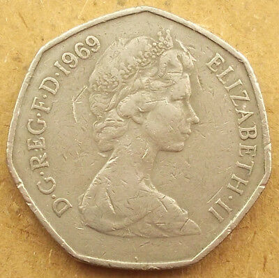 LARGE / OLD 50p, Fifty Pence coin * 1969 * Coin Hunt (9F11)