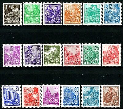 Germany DDR 1953 Redrawn Definitives Complete Set of 18 MNH 187 to 204