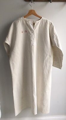 Stunning  Antique Linen French chemise Work Chore Shirt J B smock Early 20th C