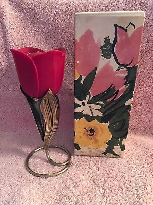 Avon Flaming Tulip  Fragrance Candle With Holder  1973   Nib