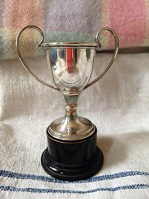 Vintage/ antique silver plated trophy cup, Wooden Ebonised base