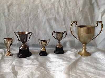vintage collection of 5 silver plate trophies, loving cup, trophies