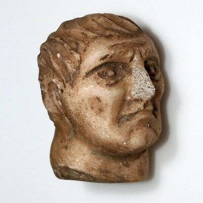 Museum Quality Ancient Greek Roman Marble Male Head Circa 500-300 Bc