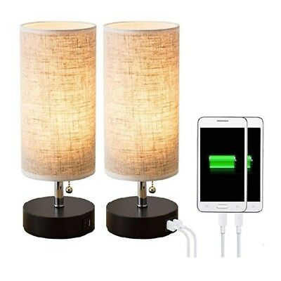 Table lamp, Black Wooden Base Beside Desk Lamp,Nightstand Lamp with Dual USB Cha