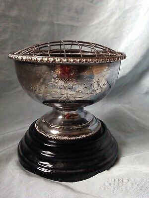 Vintage/antique silver plated trophy Rose bowl cup, Floral Engraving Glass Base