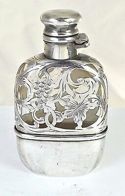Antique Glass Flask with Striking Sterling Silver Overlay and Fitted Cup Alvin