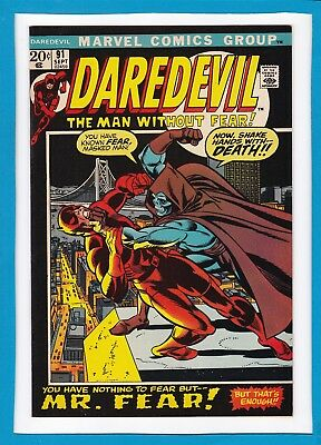 """Daredevil #91_September 1972_Nm Minus_""""nothing To Fear..but Mr Fear""""_Bronze Age!"""