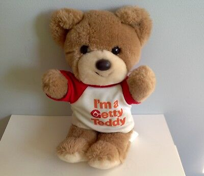 Vintage 1980's Getty Oil & Gas Advertising Stuffed Teddy Bear - Hard to Find