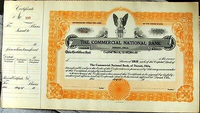 Stock certificate Commercial National Bank Durant Oklahoma 1920's blank unissued