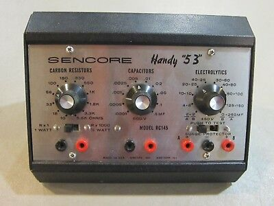 "Sencore Handy ""53"" Model RC 145  Capacitor, Resistor,  Electrolytic Tester"
