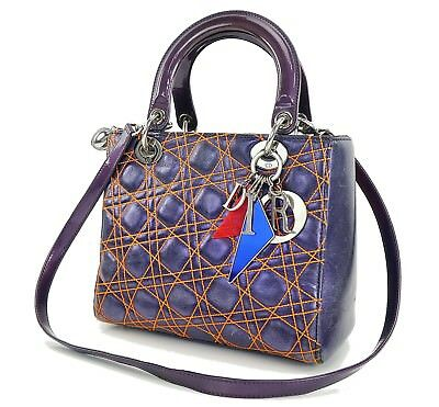 Auth CHRISTIAN DIOR Metallic Purple Lady Dior Anselm Reyle Hand Bag Purse   29391 0e3f837326a31
