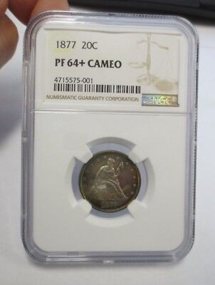 1877 PROOF Twenty Cent Piece NGC PF-64+ CAMEO (PROOF ONLY ISSUE, Mintage: 510)