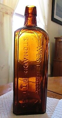 Antique WEST INDIA STOMACH BITTERS / ST. LOUIS MO. in Bright Golden Amber!!