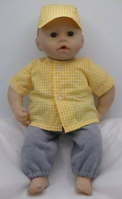Boys doll clothes.  Shirt, Joggers and Cap. Fit 18in Baby Doll George/Reborn