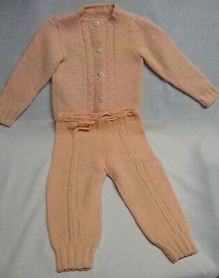Vintage (late 40's early 50's) Toddler Girl~ Pink Knit Sweater and Leggings Set