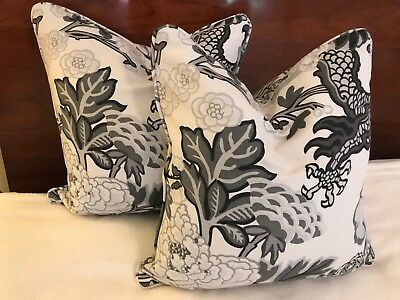(2) SCHUMACHER CHIANG MAI DRAGON Fabric CUSTOM PILLOWS FROM WORKROOM ICONIC WOW!