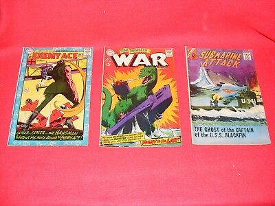 (3) Used 1965 &1968 DC COMICS, Submarine Attack, Enemy Ace & WAR