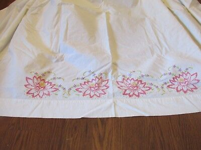 Vintage bed sheet full flat Hand Embroidered Flowers