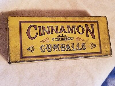 Antique Firehot Cinnamon Gumballs Tin Candy Container Box