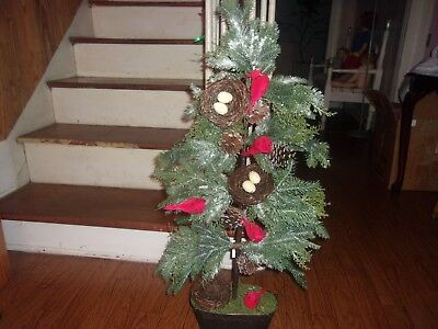"""Valerie Parr Hill Slim Iced 35""""h Cardinal Tree With Nest, Cardinals & Pinecones"""