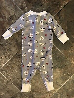 Hanna Andersson Infant Boy Pajamas Gray W/ Bears Size 50 (0-6 Months)
