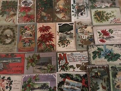 Nice Lot of 25 Vintage 1910 Christmas Holiday Postcards Antique-in Sleeves-a591